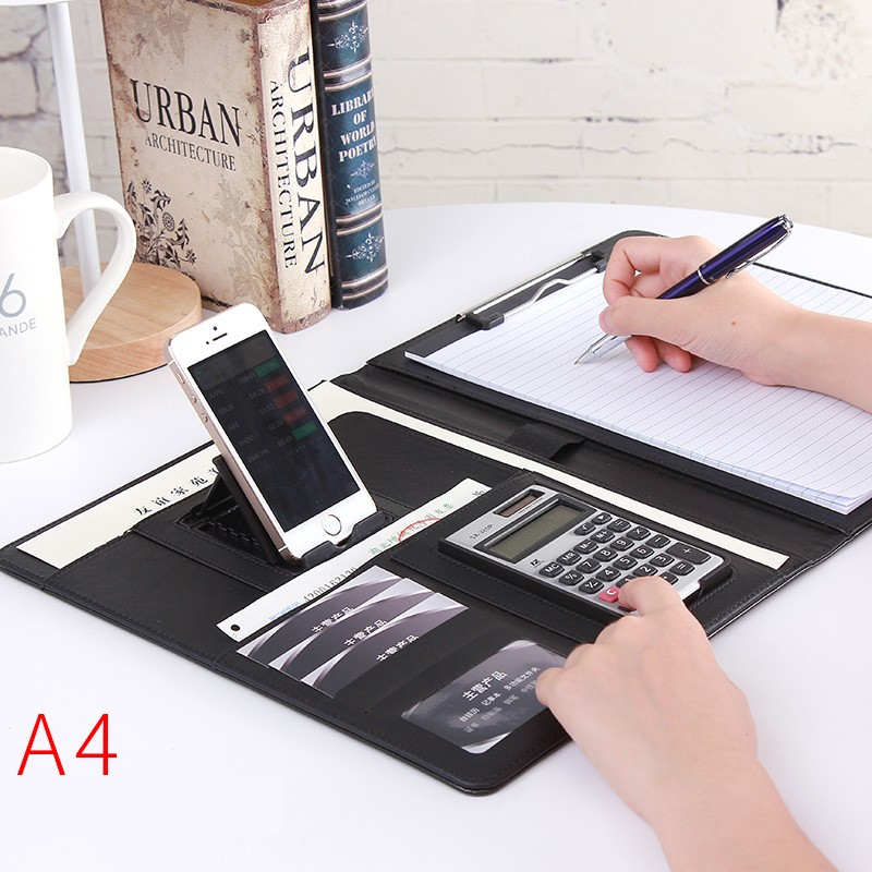 Custom LOGO Phone Holder A4 Business File Folder With Pen Calculator Organizer Notepad Manager Document School Office Stationery