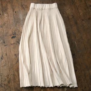 Image 4 - Setwigg女性の秋ドレープリブプリーツロングニットスカートエレガントな冬のウールブレンドaラインロングニットスカート弾性ウエスト