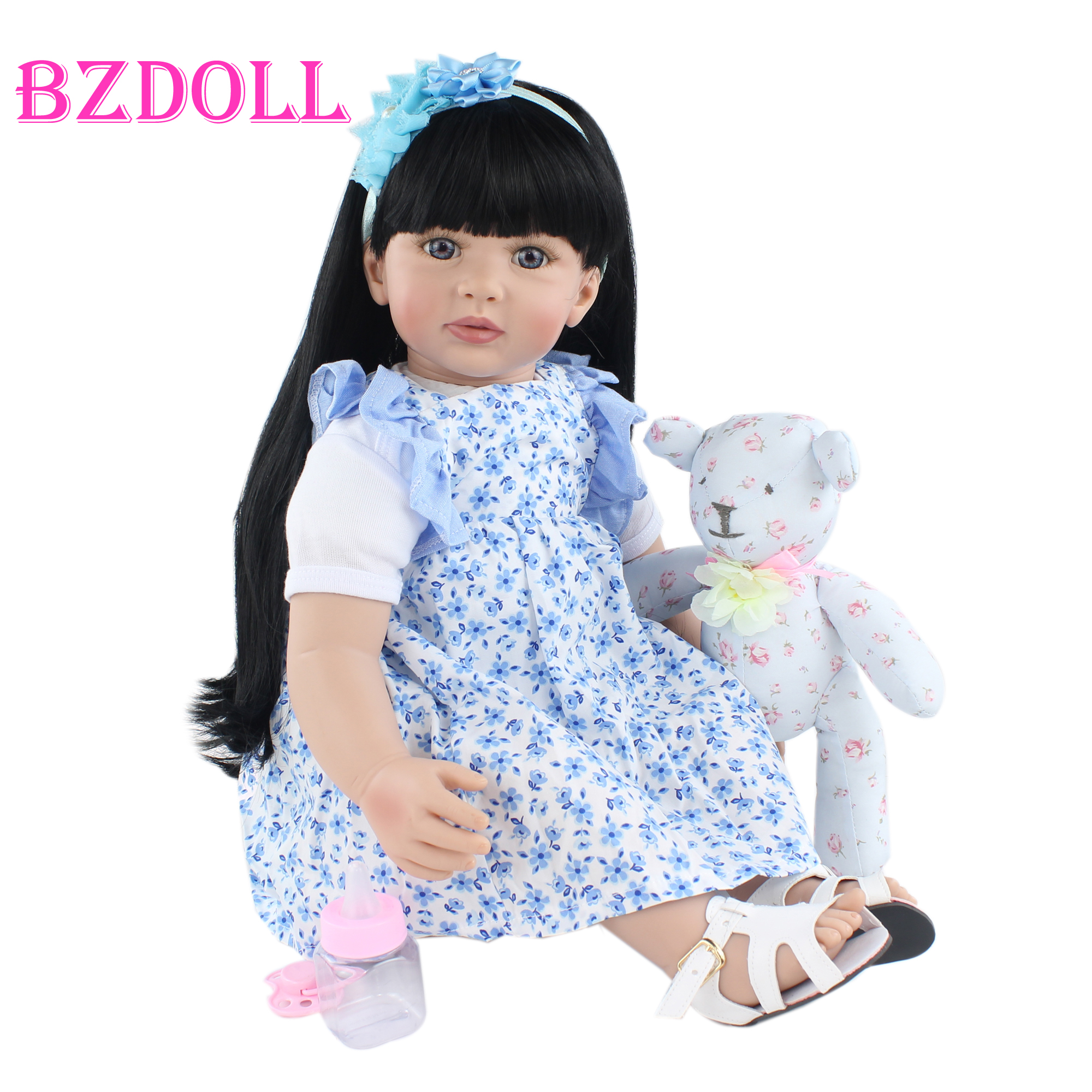 60cm Soft Silicone Reborn Toddler Doll Toys For Girl Cloth Body Black Long Hair Princess Baby Kids Birthday Gift Play House