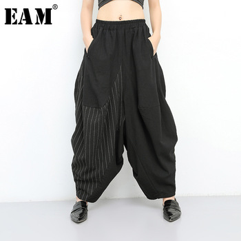 [EAM] 2021 New Spring Autumn High Elastic Waist Black Striped Big Pocket Wide Leg Loose Pants Women Trousers Fashion Tide JT138 1