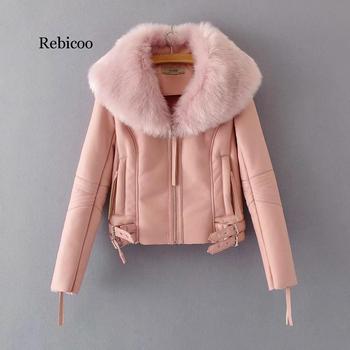Women Winter Faux Sheepskin Coat Short Lambs Wool Fur Collar Leather Jacket Warm Thick Female Zipper Outerwear