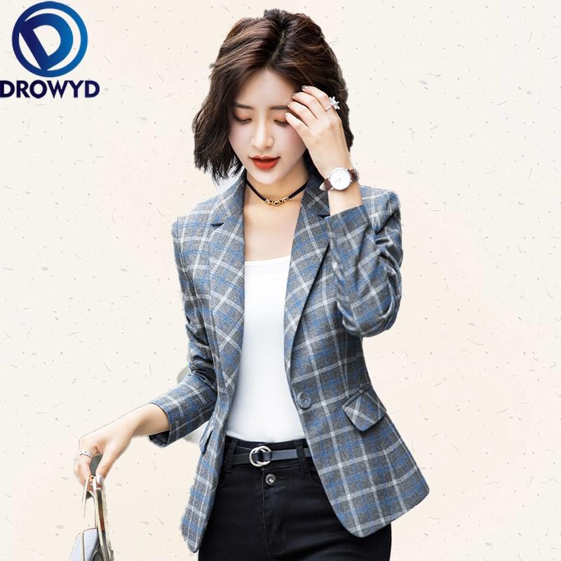 Women Blue Plaid Blazers 2020 New Fashion Lady Office Work Suit Pockets Jackets Coat Casual Loose Tops Long Sleeve Femme Blazer