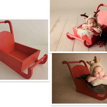 Cute Newborn Photography Props Baby Shoot Accessories Christmas Sled Car Creative Props Photo Sofa Bed Chair Red Mini Sleigh Car