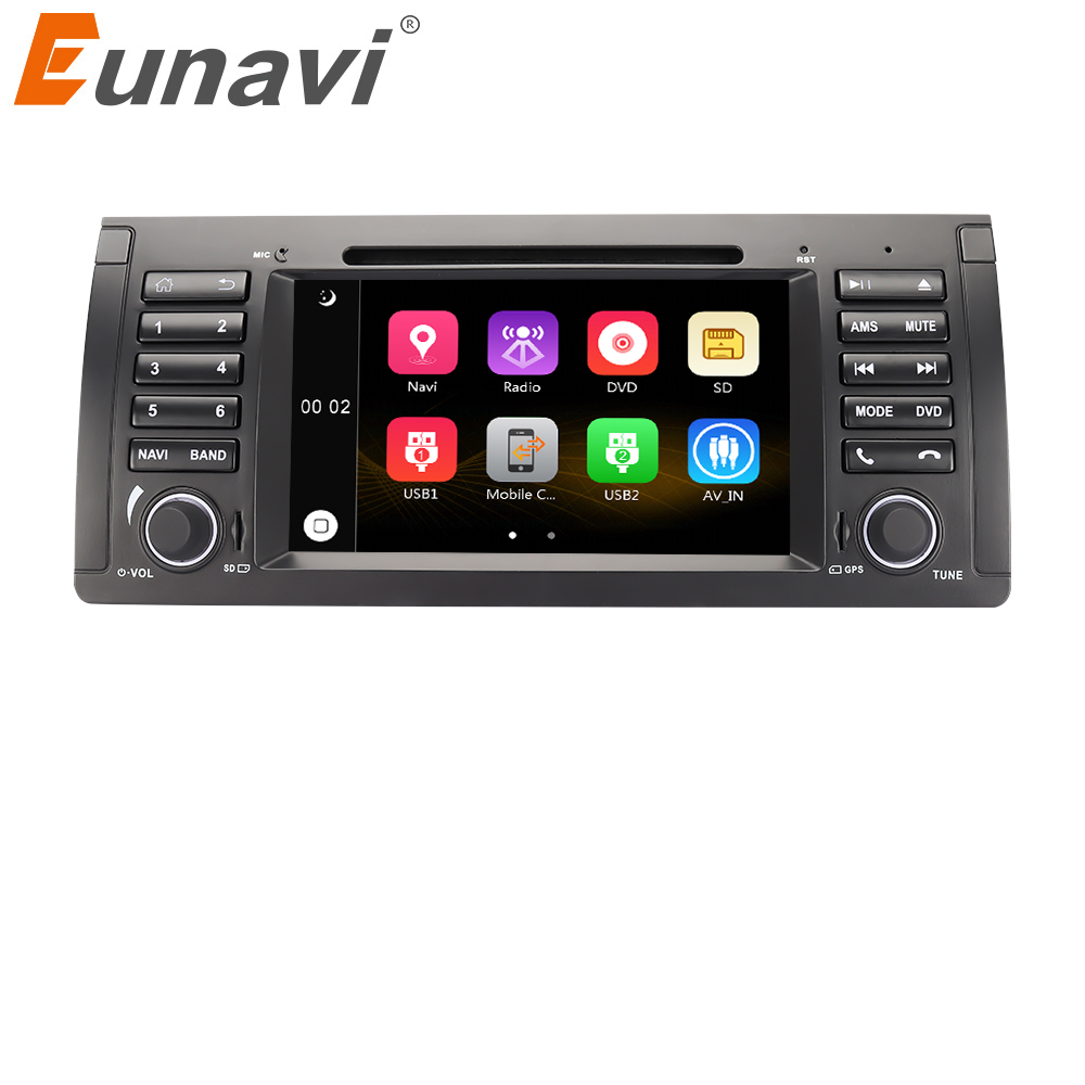 Eunavi 1 Din Car DVD Player For BMW E39 E53 X5 Range Rover 7'' Stereo Radio GPS Navigation Steering Wheel Control Bluetooth Swc