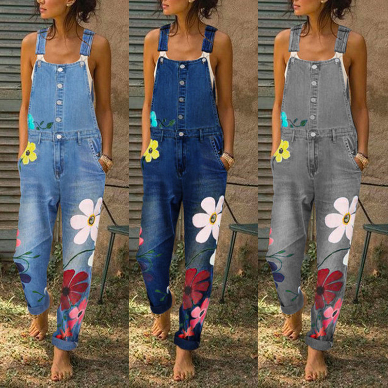 Women Floral Print Long Jeans Pants New Female Denim Jeans Spring Straps Jumpsuit Washed Pockets Bib Overalls Straight Trousers
