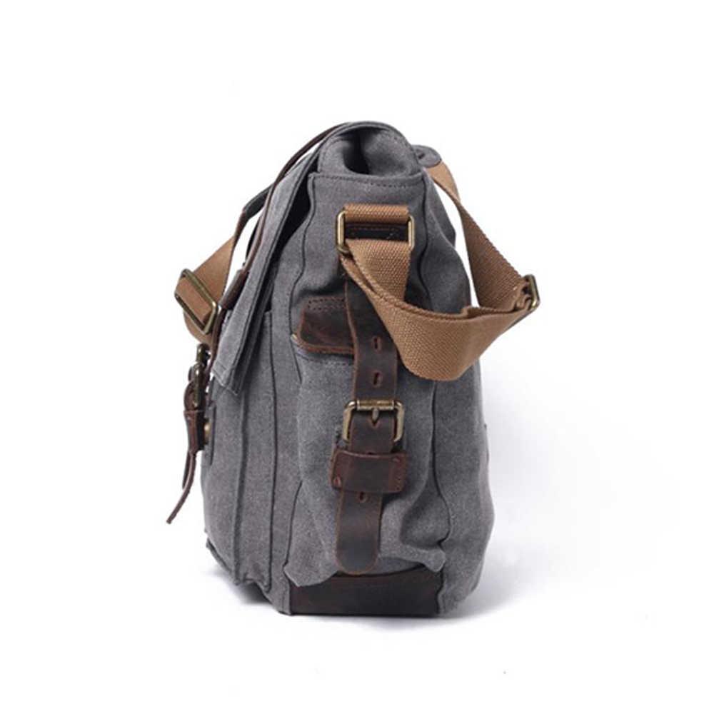 Sac à bandoulière iCozzier, sacs de messager pour hommes, sac en toile pour ordinateur portable militaire Vintage 13 pouces pour le travail et l'école, poche Multiple