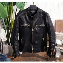 YR!Free shipping.Genuine leather.Brand Luxury vintage motor style Italy tanning sheepskin j
