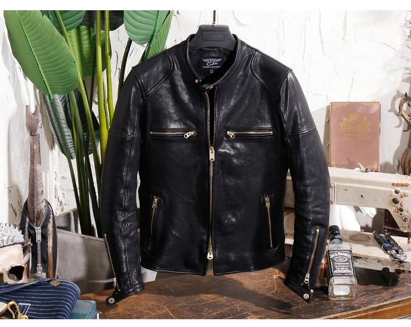 YR!Free Shipping.Genuine Leather.Brand Luxury Vintage Motor Style Italy Tanning Sheepskin Jacket,men Slim Quality Leather Coat