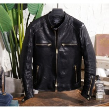 Sheepskin Jacket Leather Coat Motor-Style Tanning Vintage Luxury Men Slim Italy Yr-Free