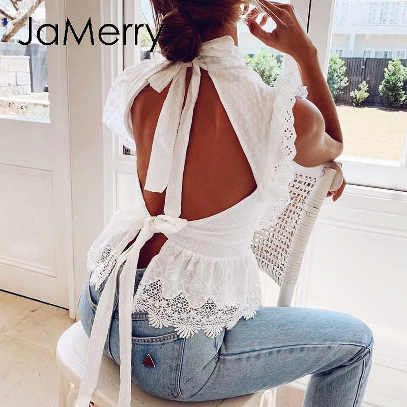 JaMerry Backless lace embroidery women white tank tops Ruffled hollow out peplum tops female summer style Streetwear ladies tops