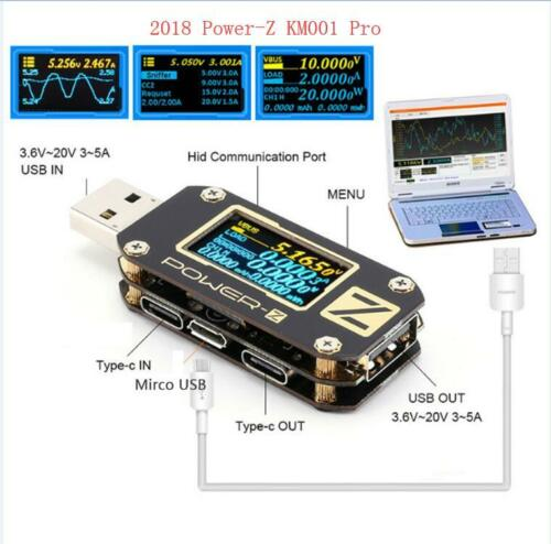 POWER-Z KM001 Pro USB PD QC3.0 QC2.0 Tester Voltage Current Ripple Type-C Meter