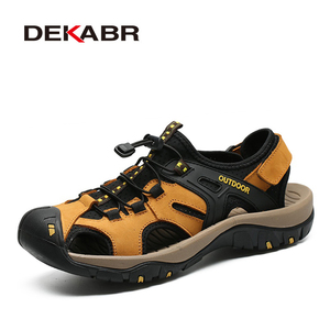 Image 1 - DEKABR New Summer Mens Shoes Outdoor Casual Shoes Sandals Genuine Leather Non slip Sneakers Hihg Quality Men Beach Sandals