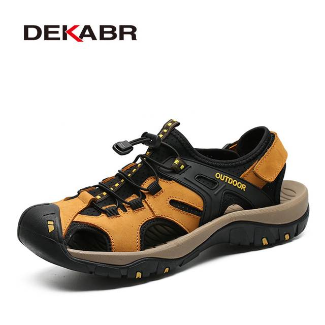 DEKABR New Summer Mens Shoes Outdoor Casual Shoes Sandals Genuine Leather Non slip Sneakers Hihg Quality Men Beach Sandals