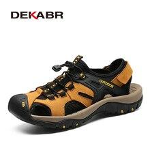 DEKABR zapatos informales de verano para hombre, sandalias antideslizantes de cuero genuino, de alta calidad, para la playa