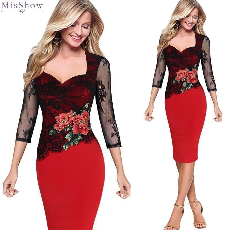 Lace   Cocktail     Dresses   Knee Length 2020 Short Formal Party Gown Flower Print 3/4 Sleeve robe coctail