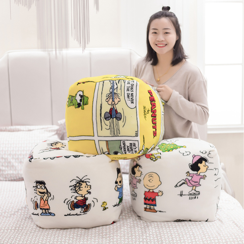 Classical Snoopy Plush Pillow Blanket Square Shaped Plush Cozy Sofa Charlie Plush Bed Or Chair Back Cushion Snoopy Dog Toy Gifts