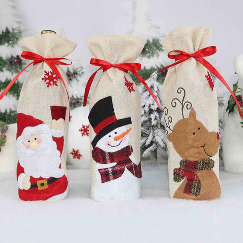 Christmas Wine Bottle Cover Reusable Wine Bags Champagne Holder Christmas Table Xmas Party Decorations