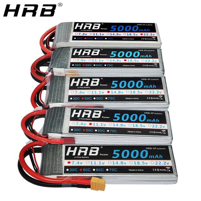 Hrb 5000 2600mahの 11.1vリポバッテリー 14.8v 50C tディーンズXT60 EC5 7.4v 2s 3s 18.5v 22.2 用fpv飛行機ボート 4WD車のラジコンパーツ 4 4s 5 5s 6s