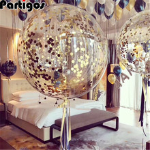 2Pcs 18นิ้วRose Gold Confettiตกแต่งงานแต่งงานบอลลูนพองใสลูกโป่งวันเกิดตกแต่งParty Decor