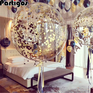 2pcs 18inch Rose Gold Confetti Balloon Wedding Decoration Inflatable Clear Latex Balloons Birthday Party Decoration Party Decor(China)