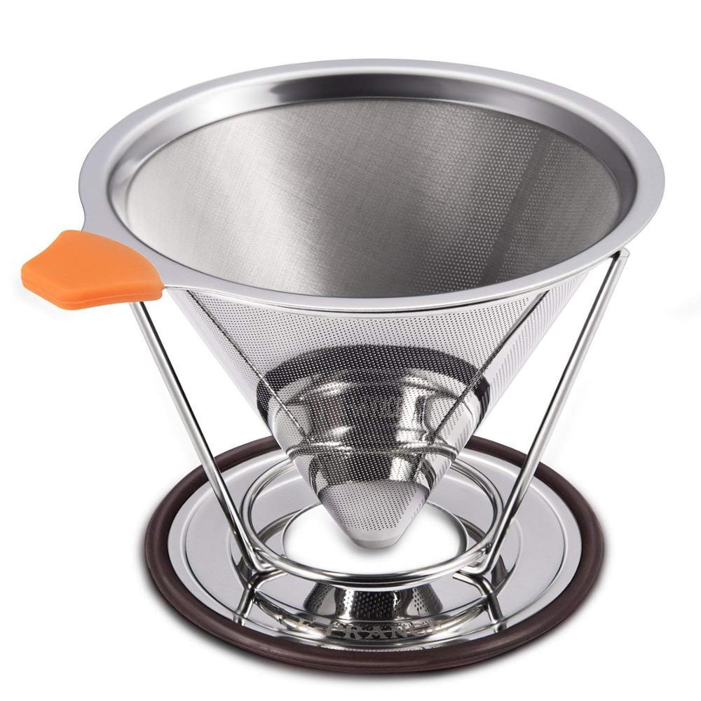 Verser sur le filtre à café la cafetière d'acier inoxydable garantit des saveurs plus audacieuses avec un cône et un support réutilisables de goutteur de café