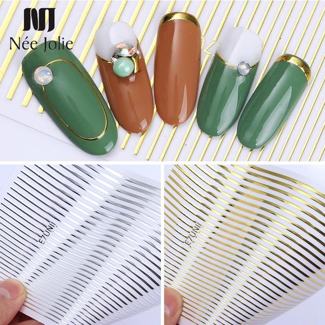 Złoto srebro 3D naklejka do paznokci taśma paski na paznokcie linie projekt wielkoformatowe paski klej DIY folia motyl paznokci naklejki ozdobne wystrój