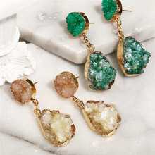 Bohemian Druzy Drop Earrings For Women Charm Colorful Geometric Resin Stone Crystal Dangle Earring Female Fashion Jewelry Gifts
