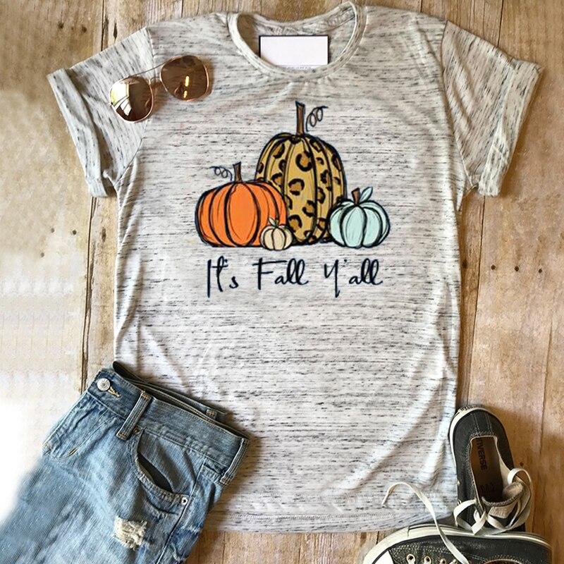 It's Fall Ya'll Shirt Pumpkin Tshirt Halloween Tee For Womens Horror Squad Print Tops 2019 Thanksgiving  Women Plus Size