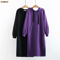 Plus size women hoodie dress long sleeve loose autumn winter sweatshirt hoody long hoodies coats clothing sudadera mujer 4XL