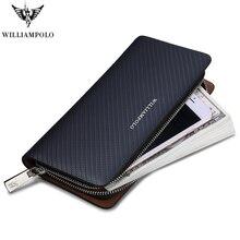 Chaud!!! WILLIAMPOLO Original marque 100% portefeuille en cuir hommes longue tricot modèle portefeuille hommes marque de luxe portefeuilles PL118