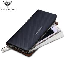 Está quente!! Williampolo marca original 100% carteira de couro dos homens longo padrão tricô carteira masculina marca luxo carteiras pl118