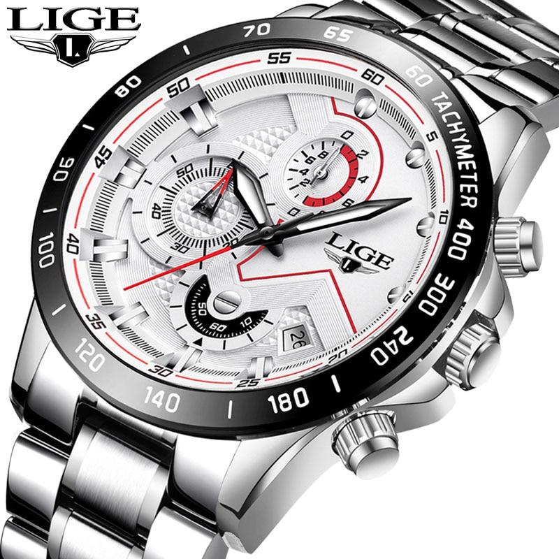 Relogio Masculino LIGE Fashion Mens Watches Top Brand Luxury Wrist Watch Quartz Clock Silver White Watch Waterproof Chronograph