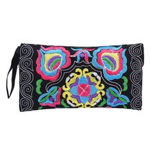 National wind coin purse Women Ethnic Handmade Embroidered Wristlet Clutch Bag Vintage Purse Wallets high quality monederos #yl(China)