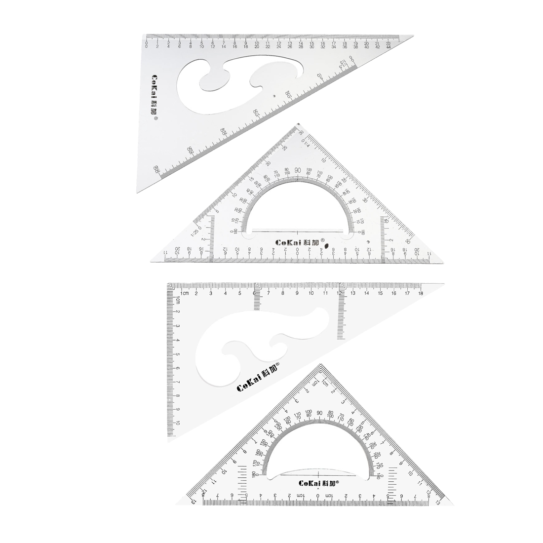 Uxcell 1 Set Triangle Ruler Square Set With Built-in Protractor Degrees For Classroom Office Home Engineering Etc. 5 Size