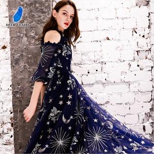 Image 4 - DEERVEADO Vintage Pattern A Line Tulle Evening Dresses Long Formal Dress Evening Gown Robe de Soiree YS439