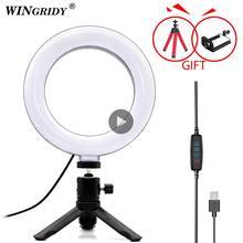 Светодиодный кольцевой светильник 6 дюймов, 10 дюймов, 16 см, 26 см, держатель для телефона, селфи, мини Трипод, кольцевая лампа для iphone, huawei, xiaomi, Youtube, прямая трансляция
