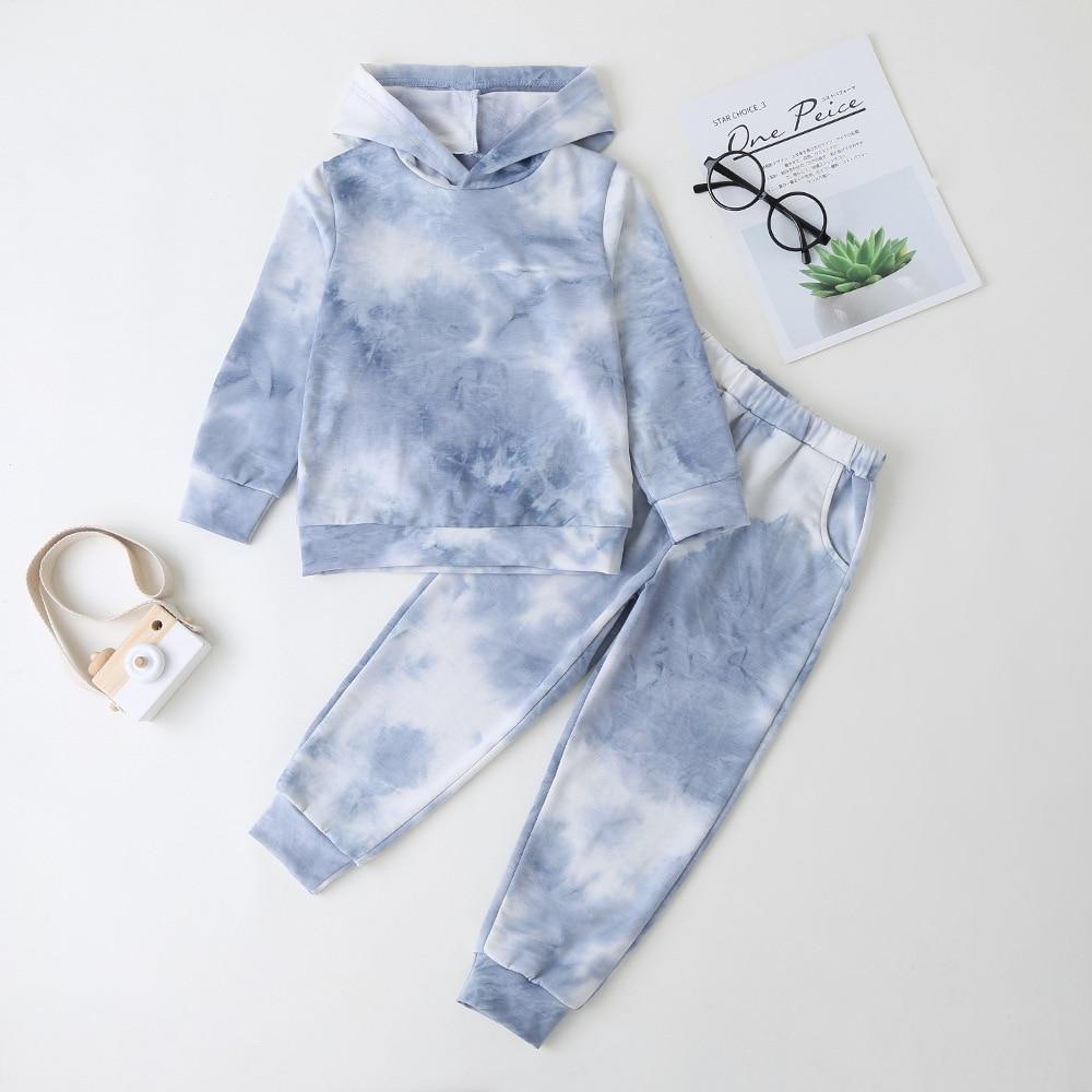 Çocuk giyim kız batik uzun kollu mavi kapüşonlu süveter mavi pantolon moda stil seti 2021 ilkbahar sonbahar yeni varış