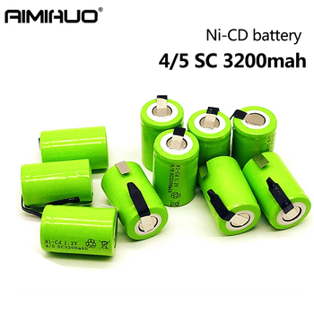 1-10pcs 4/5 SC 1.2V Rechargeable Battery 3200mAh Sub C Ni-CD Battery with Welding Tab Replacement for Electric Drill Screwdriver high quality battery rechargeable battery sub battery sc ni cd battery 1 2 v with tab 3000 mah for electric tool
