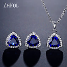 ZAKOL Classic Cubic Zirconia Stud Earrings Pendant Necklace Set Bridal Jewelry for Women Anniversary Birthday Gift FSSP3015(China)