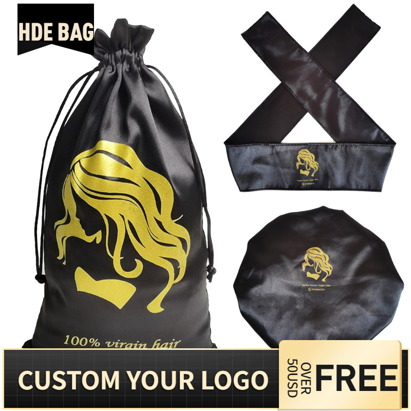 Custom Logo Silk Satin Drawstring Bags Headband Shower Cap For Hair Wigs Wrap Grip Band Laying Scarf Wrapping