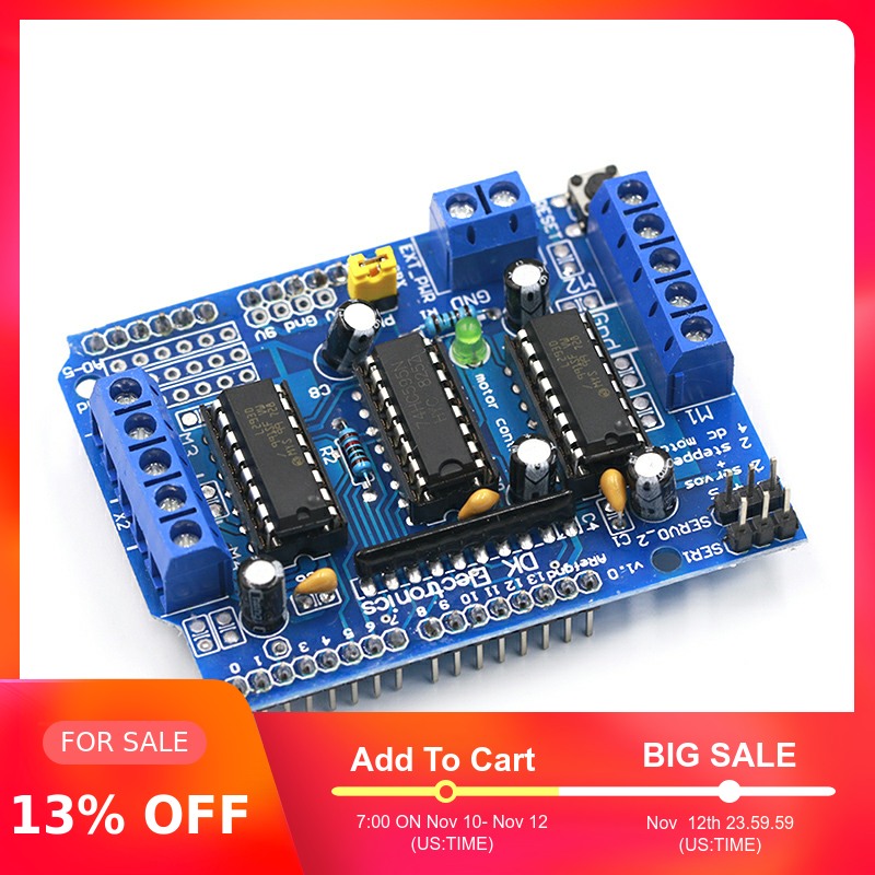 1pcs L293D Motor Drive Shield dual for arduino Duemilanove, Motor drive expansion board motor control shield