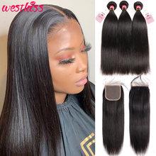 Peruwiańskie proste włosy ludzkie wiązki z zamknięciem 3 szt. Pasma włosów typu remy z zamknięcie koronki wolna środkowa część West KISS Hair