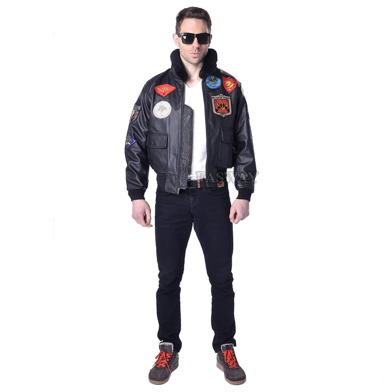 Men's Genuine Leather Men Cowhide Top Gun Flight Pilot Bomber Motorcycle Jacket Motor Biker Coat 142