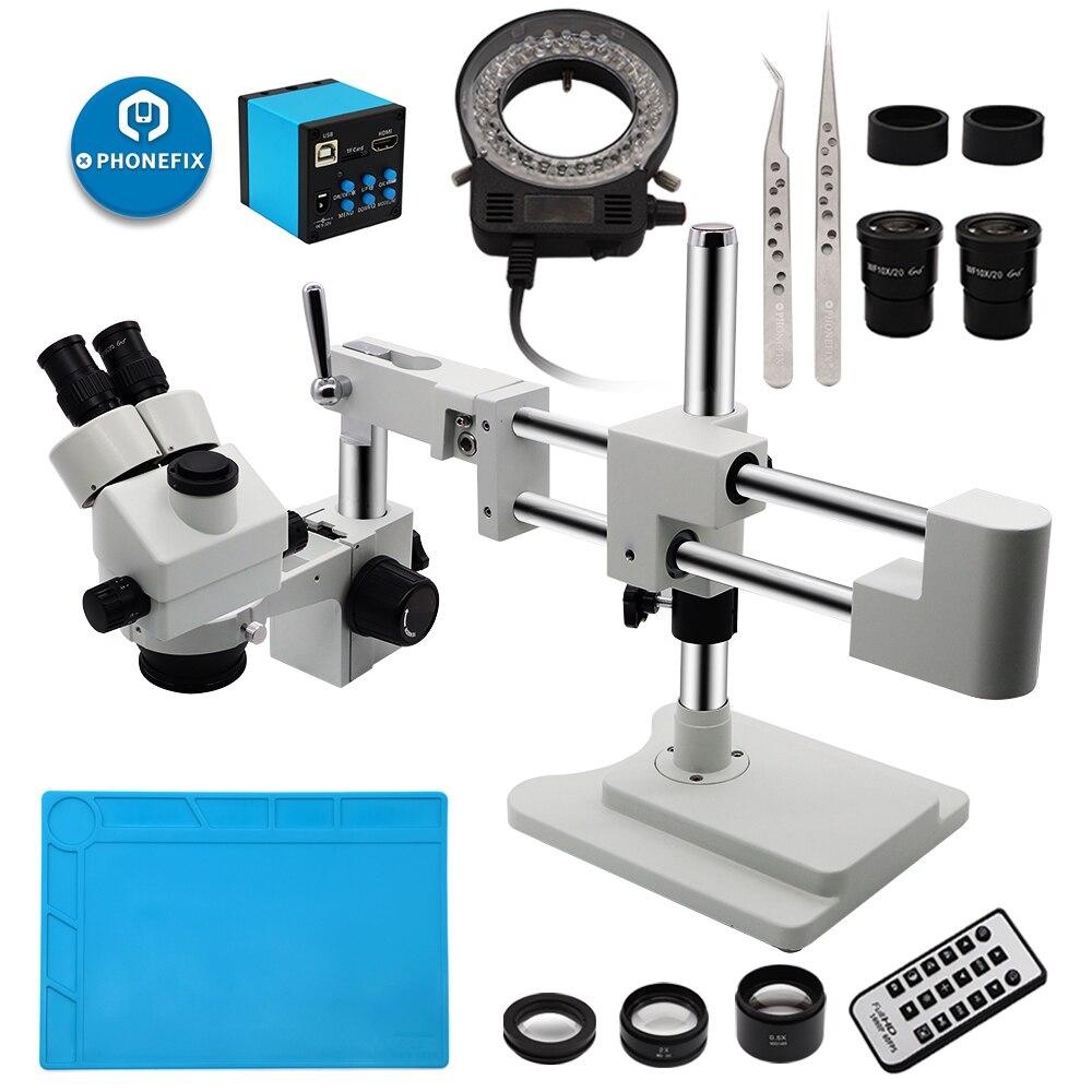 3.5X-90X Simul-Focal Stereo Lockable Zoom Microscope on Dual Arm Boom Stand Includes VGA 14MP/16MP/21MP Microscope Camera