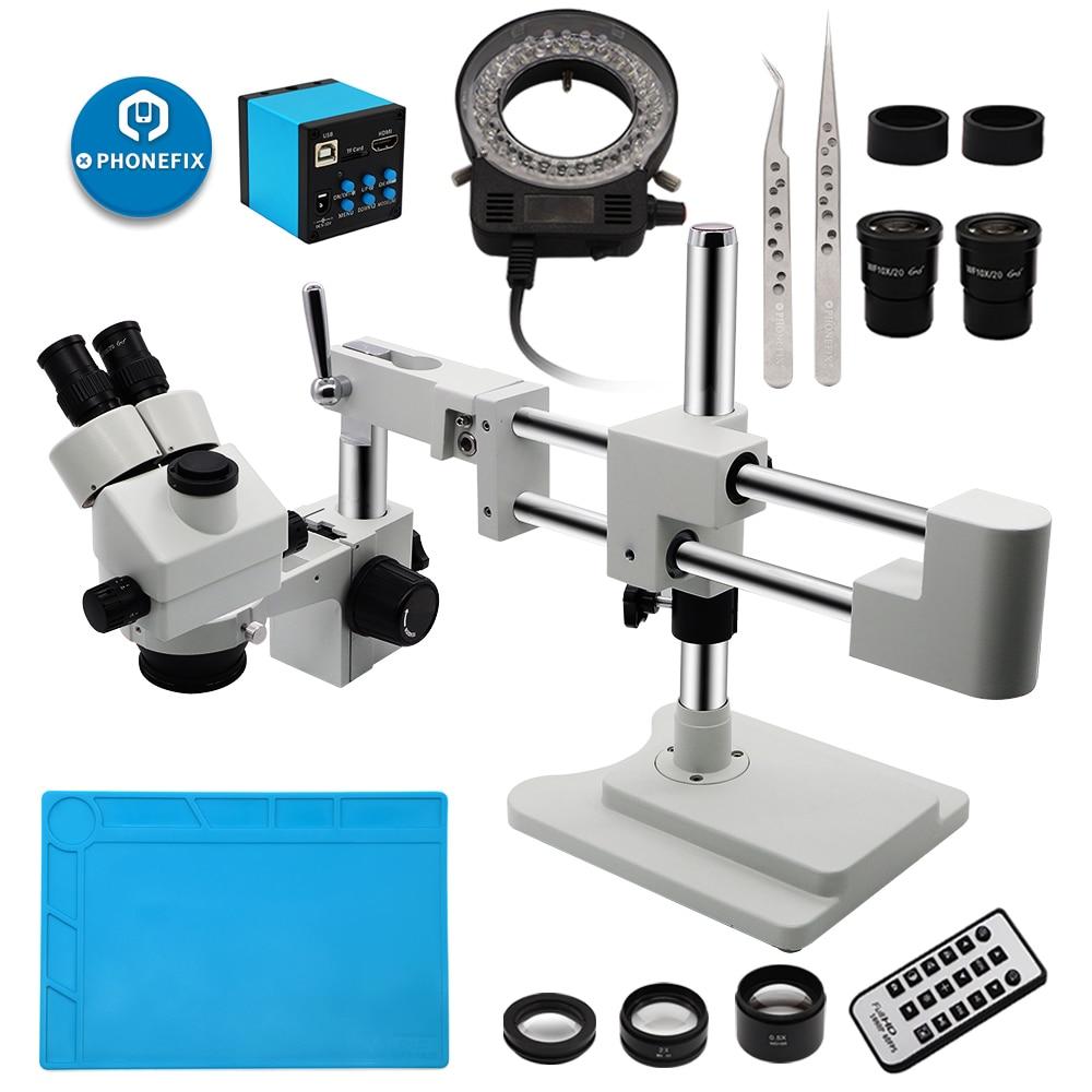 3.5X-90X simul-focal Microscope à Zoom verrouillable stéréo sur le support de flèche à double bras comprend une caméra de Microscope VGA 14MP/16MP/21MP