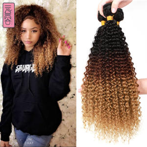 Yunrong Hair-Extensions Blonde Curly Afro Kinky Deep-Wave Synthetic 3pcs/package 4/27