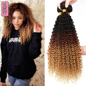 YunRong Ombre Blonde Synthetic Afro Kinky Curly Hair Extensions Black Roots 3PCS/Package T1B/4/27 Deep Wave Hair Bundles