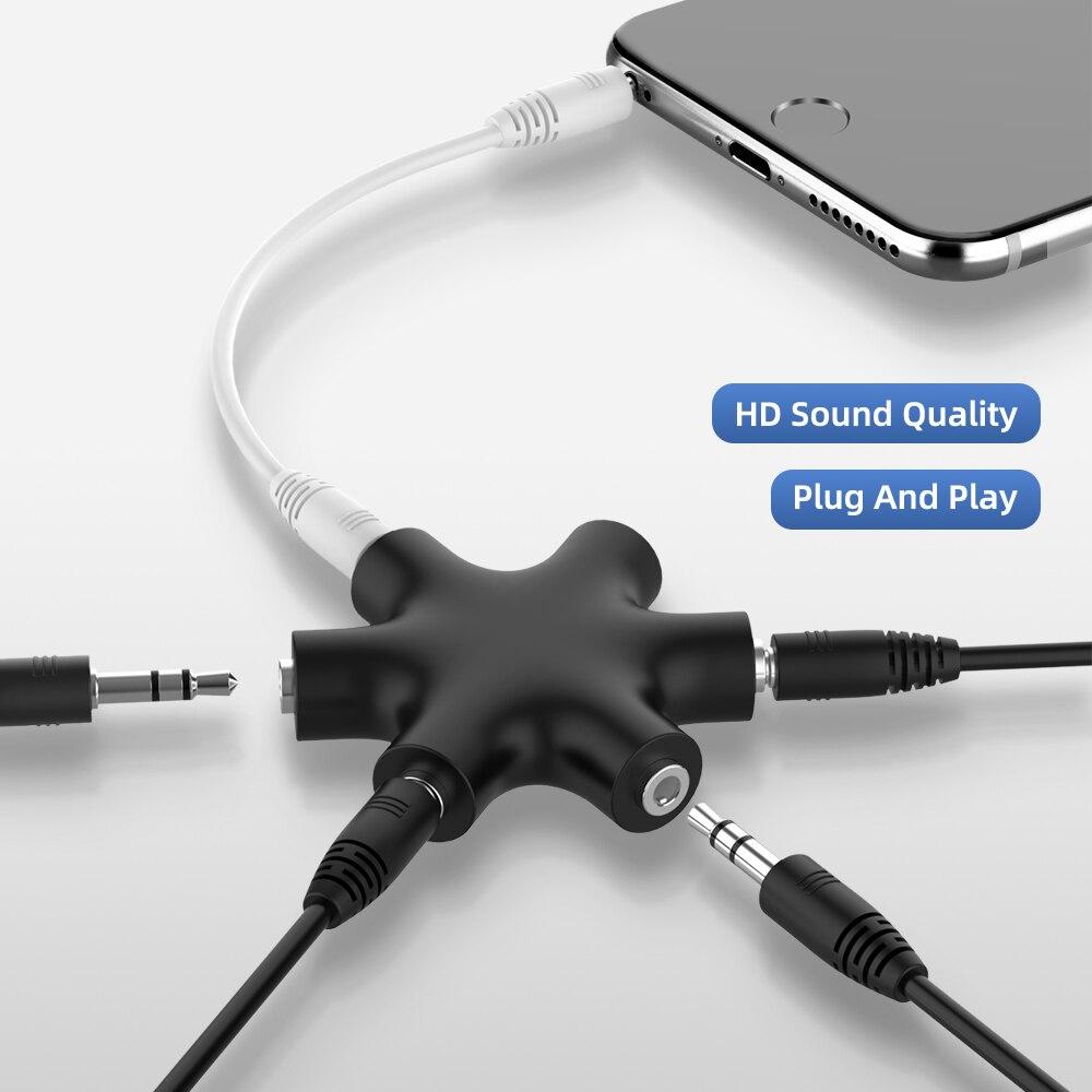 Аудиокабель Aux 3,5 мм, сплиттер, 1 штекер на 5 гнездо, разъем для наушников 3,5 Jack, адаптер для планшета, MP3, MP4, смартфона