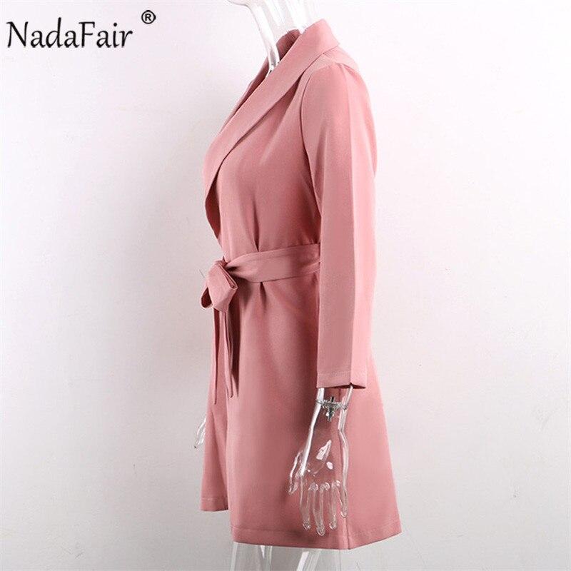 Nadafair Туника мини Офис Блейзер платье для женщин плюс размер Повседневное хаки розовый пояс галстук с длинным рукавом Работа элегантное веч...