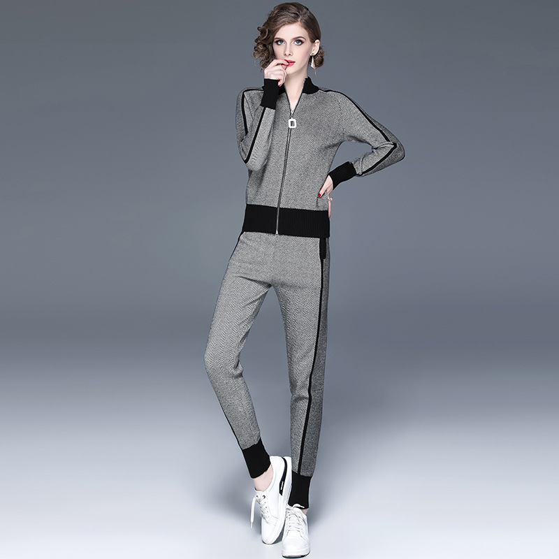 Fall Winter New Tracksuit Woman Color Patchwork Turtleneck Zipper Knitted Cardigans+Pants 2PCS Sets Long Sleeve Knit Top Trouser 48